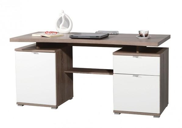 Office - stôl (dub tmavý / biela)