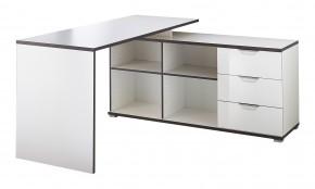 Office - Stôl so skrinkou a zásuvkami (biela)