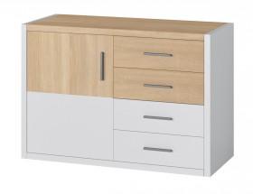 Oslo - Komoda, 4x zásuvky, 1x dvere (dub sonoma/biela)