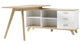 Oslo - Stôl so skrinkou (biela/dub sanremo)