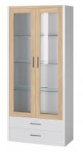 Oslo - Vitrína 2x dvere,police+LED osvetlenie (dub sonoma/biela)