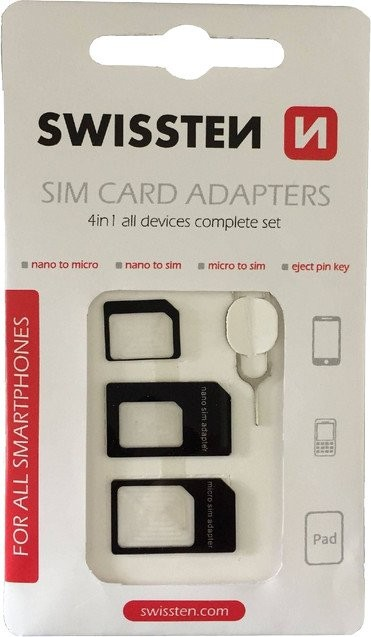 Ostatné príslušenstvo Adaptér na SIM kartu 4v1 Swissten