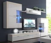 Pablo - Obývacia stena (biela/biela lesk, fronty/béžové detaily)