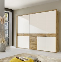 Padua - Skriňa, 5x dvere, 4x zásuvka (dub balken/alpská biela)
