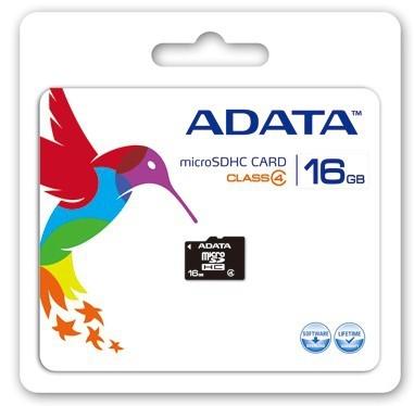 Pamäťové karty 16 GB A-Data micro SDHC 16GB class 4 + adaptér