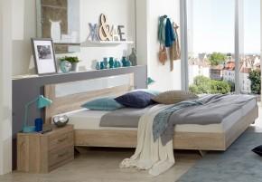 Pamela - Komplet,posteľ 140x200cm,nočné stolíky (dub,sklo,chrom)