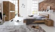 Pamela - Komplet posteľ 160,skříň 225cm,stolíky (tmavý dub)