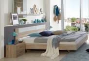 Pamela - Komplet,posteľ 180x200cm,nočné stolíky (dub,sklo,chrom)