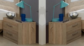 Pamela - Nočný stolík 2ks (dub,sklo,chrom)