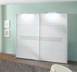 Pamela - Skriňa, 2x dvere, 225 cm (alpská biela/biele sklo)