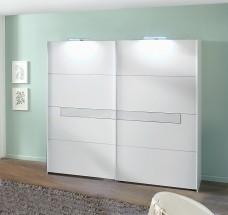 Pamela - Skriňa, 2x dvere, 270 cm (alpská biela/biele sklo)