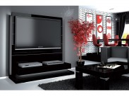 Panorama lux - TV stolík s držiakom (čierna vysoký lesk)