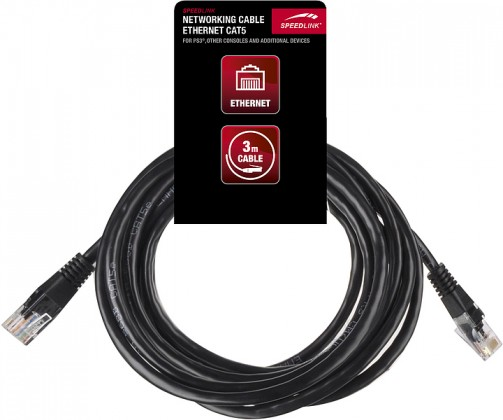 Patch káble NETWORKING CABLE - Ethernet Cat5 - for PS3, 3m