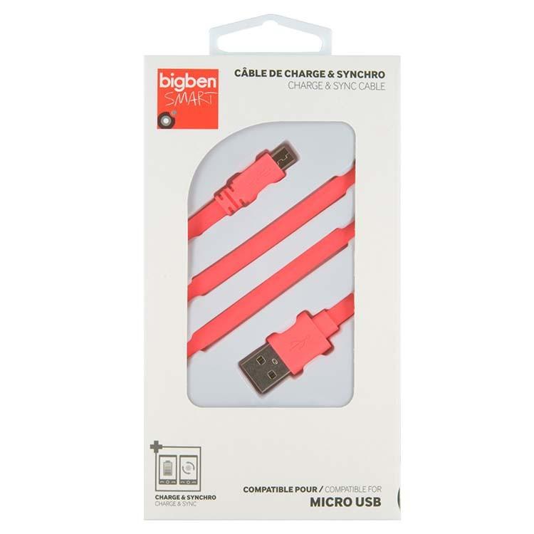 PC káble Bigben CABLEFLATMICP - Micro USB kábel plochý 2.1A 1m, ružový
