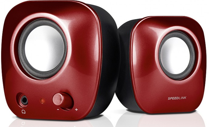 PC reproduktor  SNAPPY Stereo Speakers SL-8003-SRD, red
