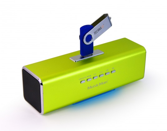 PC reproduktor  Technaxx MusicMan, baterie 600 mAh, FM-Radio, USB, zelený