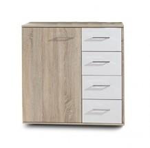 Petra - Komoda, 1x dvere, 4x šuplík (dub/alpská biela)