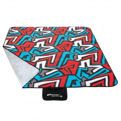 Picnic zigzac - Piknik deka 150x180 (modrá, červená, biela)