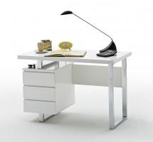 Písací stôl Langres (3 šuplíky, biela, strieborná)