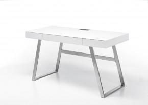 Písací stôl Tegmen (biela, strieborná)