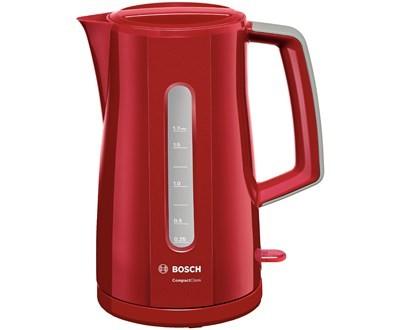 Plastové rýchlovarné kanvice Rýchlovarná kanvica Bosch TWK3A014, červená, 1,7l