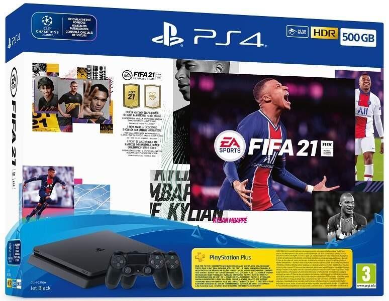PlayStation 4 SONY PlayStation 4 500GB - čierny + FIFA21 + 2x DualShock