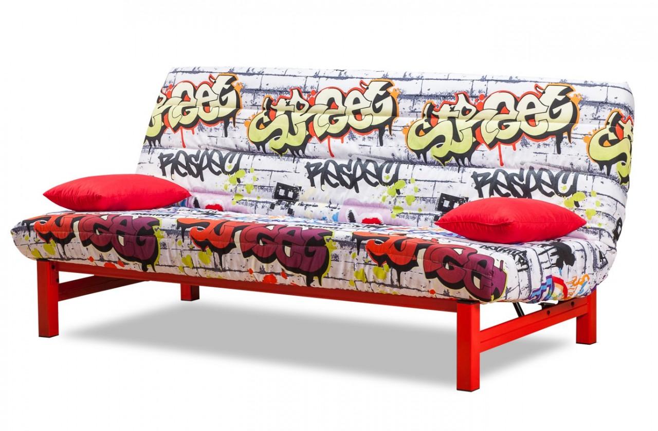 Pohovka Clic Clac-rozkladacie (red grafitti-hlavná látka/metal-nohy)