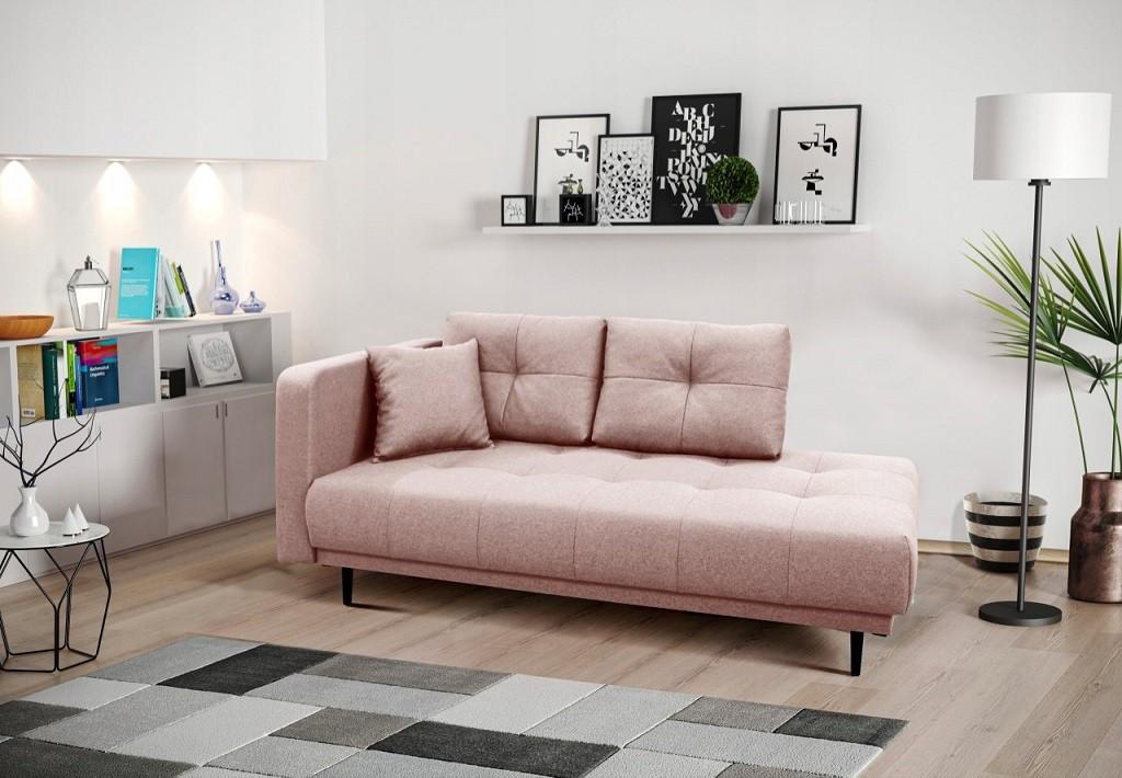 Pohovka Leňoška Bony s úložným priestorom, ľavá strana, ružová