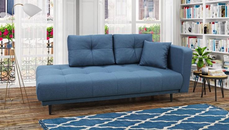 Pohovka Leňoška Bony s úložným priestorom, pravá strana, modrá