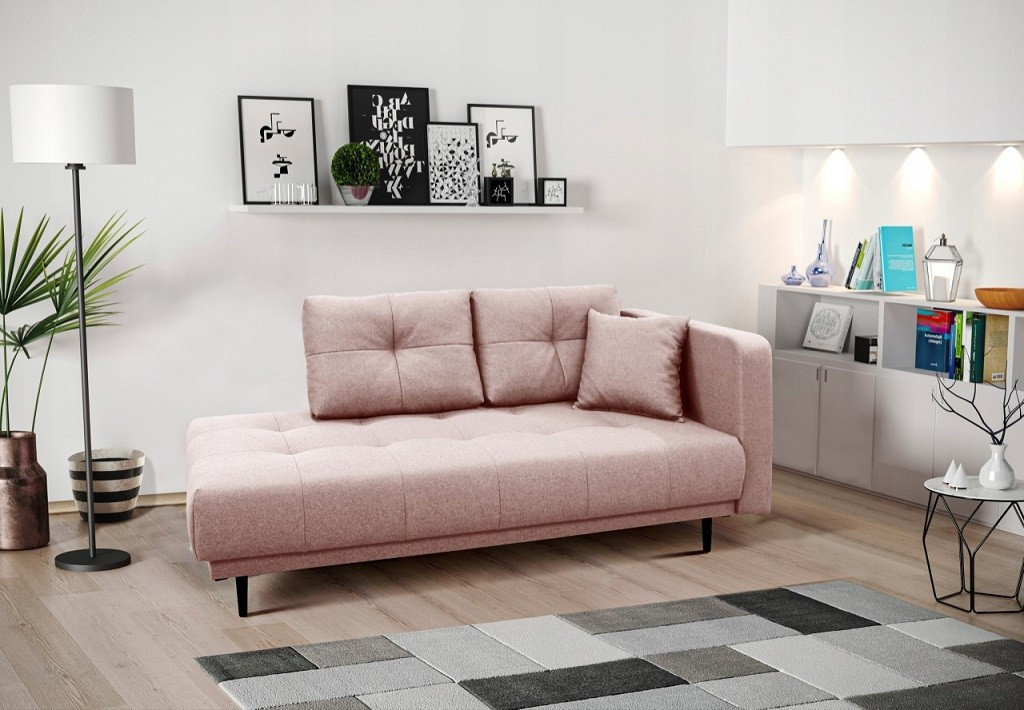 Pohovka Leňoška Bony s úložným priestorom, pravá strana, ružová