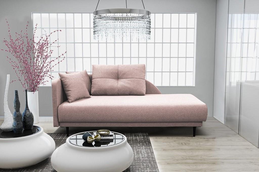 Pohovka Leňoška Ize s úložným priestorom, ľavá strana, ružová
