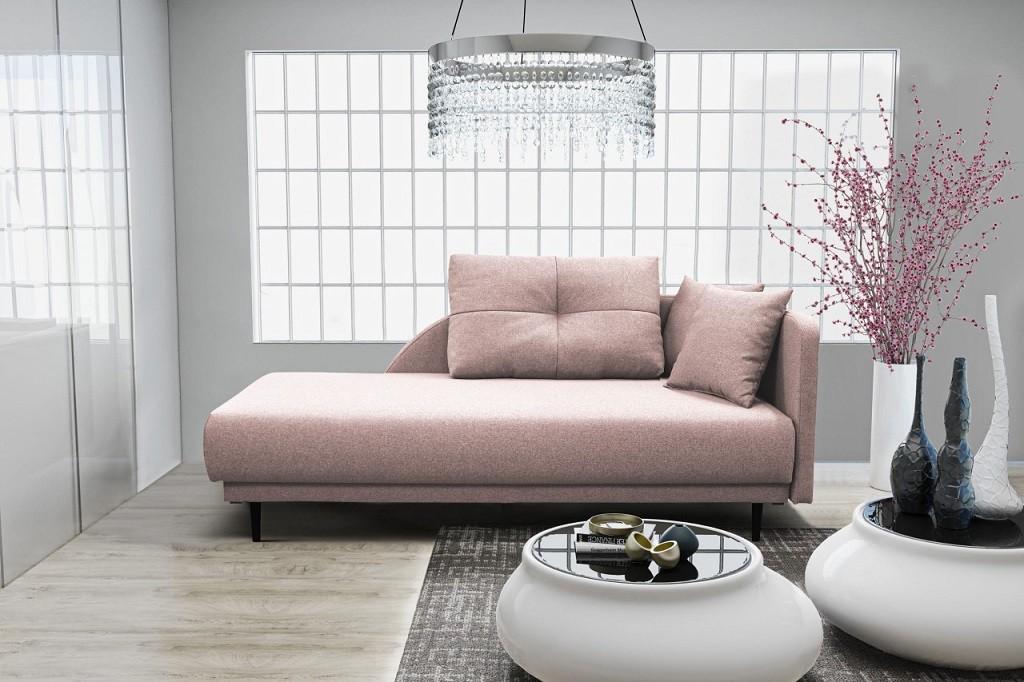 Pohovka Leňoška Ize s úložným priestorom, pravá strana, ružová