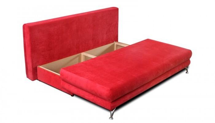 Rozkladací gauč na denné spanie v červenej farbe s úložným priestorom