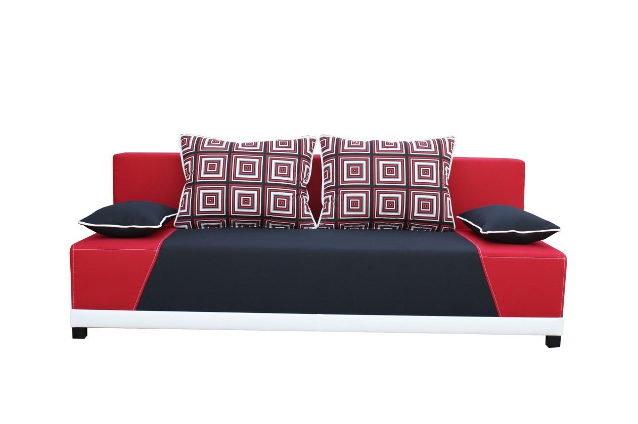 Pohovka Rosso - Pohovka (mura 100/mura 60/vankúše vzor 196/1 červený)