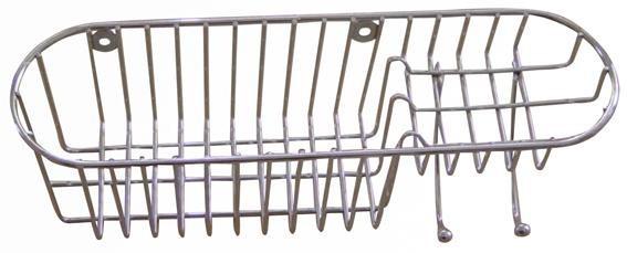 Polička sprchová s háčiky, 34,8x11x11 cm (pochrómovaný kov)