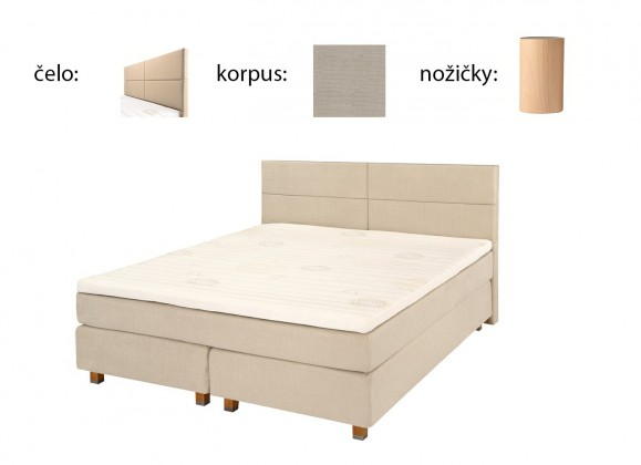 Postel Boxspring Boxbed (180x200, HB cube 114x180 - papyrus, nohy buk)
