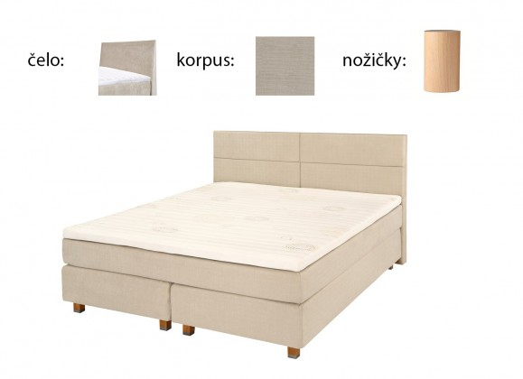 Postel Boxspring Boxbed (180x200, HB hills 116x180 - papyrus, nohy buk)