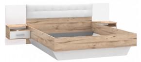 Posteľ Corsica - 160x200, nočný stolík (dub/biela vysoký lesk)