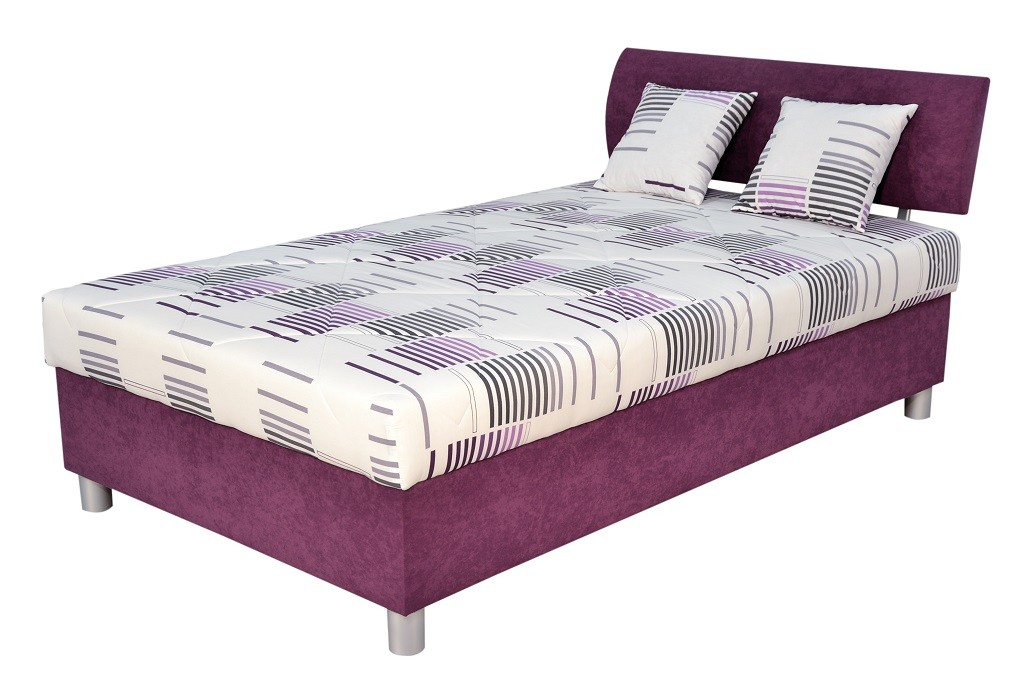 Postele 120x200 Čalúnená posteľ George 120x200, fialová, vrátane matraca a úp