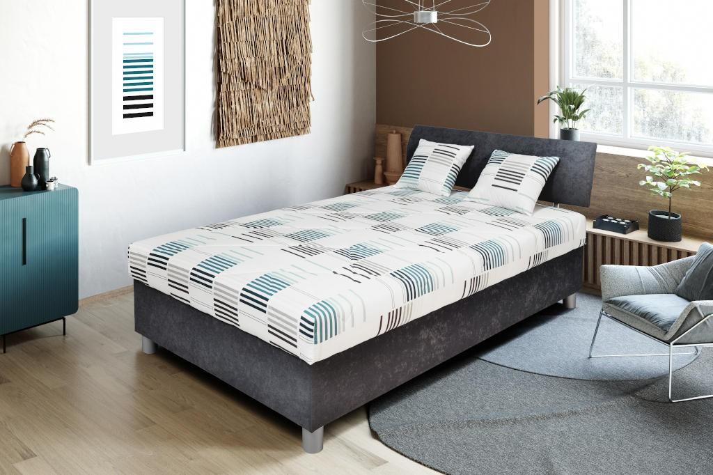 Postele 120x200 Čalúnená posteľ George 120x200, šedá, vrátane matracov a úp