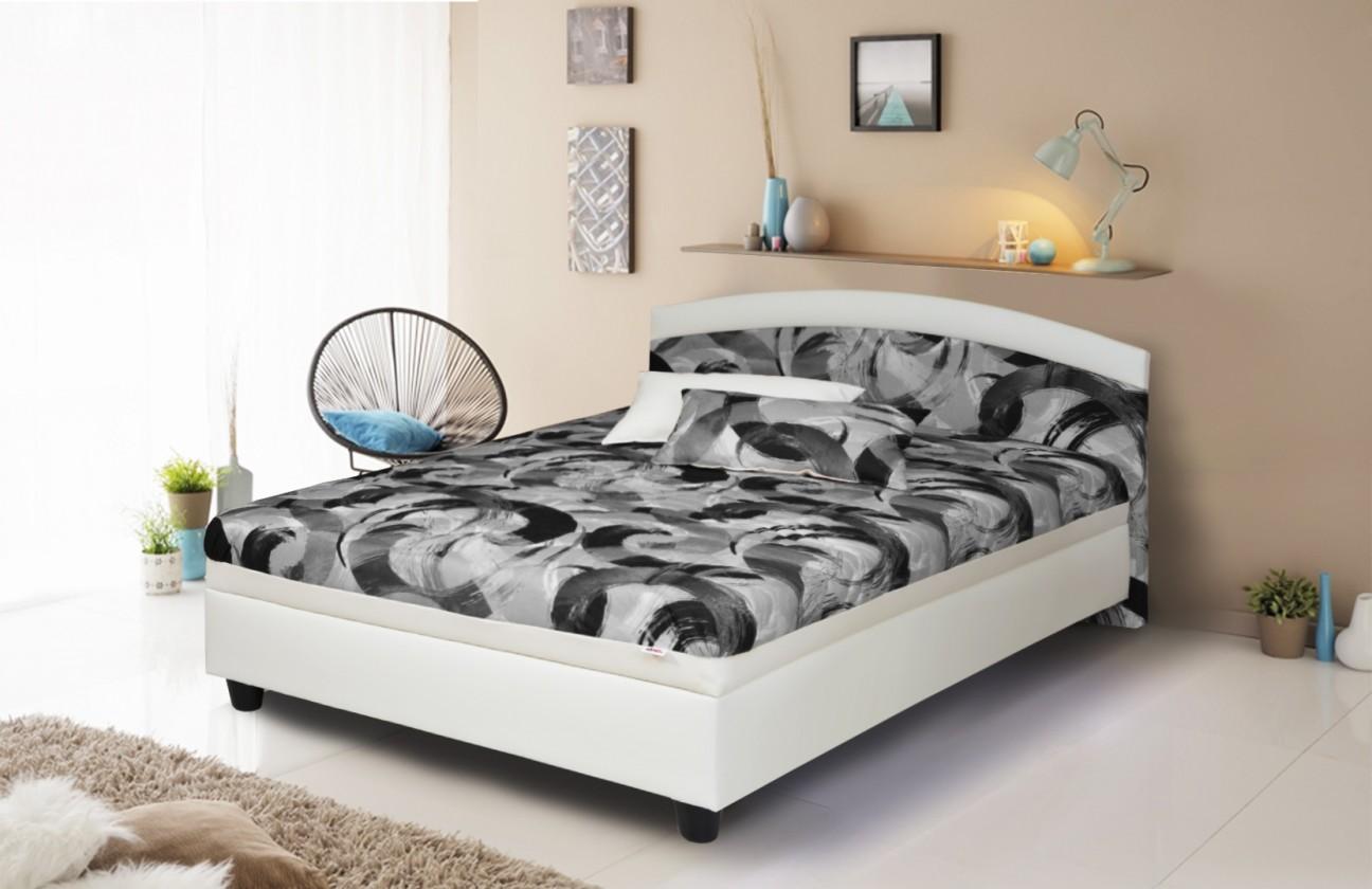 Postele 120x200 Čalúnená posteľ Zonda 120x200, šedá/biela, vrátane matracov a úp
