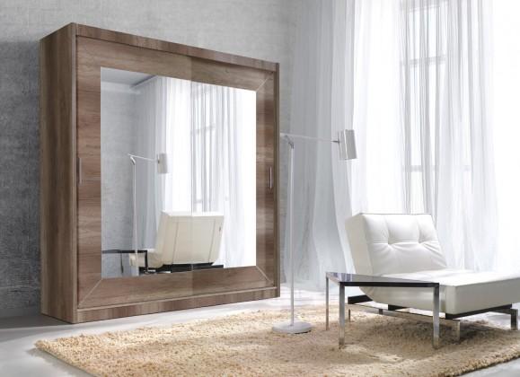 Posuvná Alfa - Skriňa 200x215x60cm, posuvné dvere, zrkadlo (dub country)