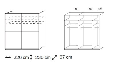 Posuvná Linea (Alpská biela/čierne sklo)