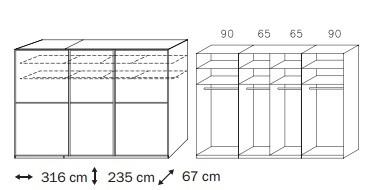 Posuvná Linea (Alpská biela/krémové biele sklo)