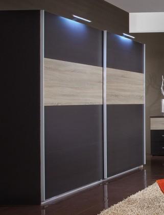 Posuvná Madrid - šatníková skriňa, 2x posuvné dvere (lava čierna/dub)