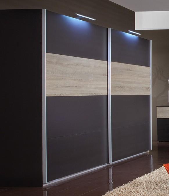Posuvná Madrid - šatníková skriňa 3, 2x posuvné dvere (lava čierna/dub)