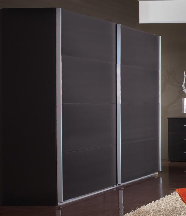 Posuvná Madrid - šatníková skriňa 3, 2x posuvné dvere (lava čierna)