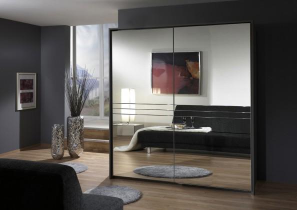 Posuvná Medina - Šatníková skriňa 2, 2x posuvné dvere (lava čierna)