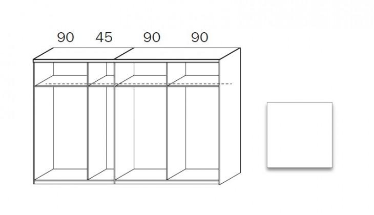 Posuvná quadra - korpus šatníkovej skrine 48K8