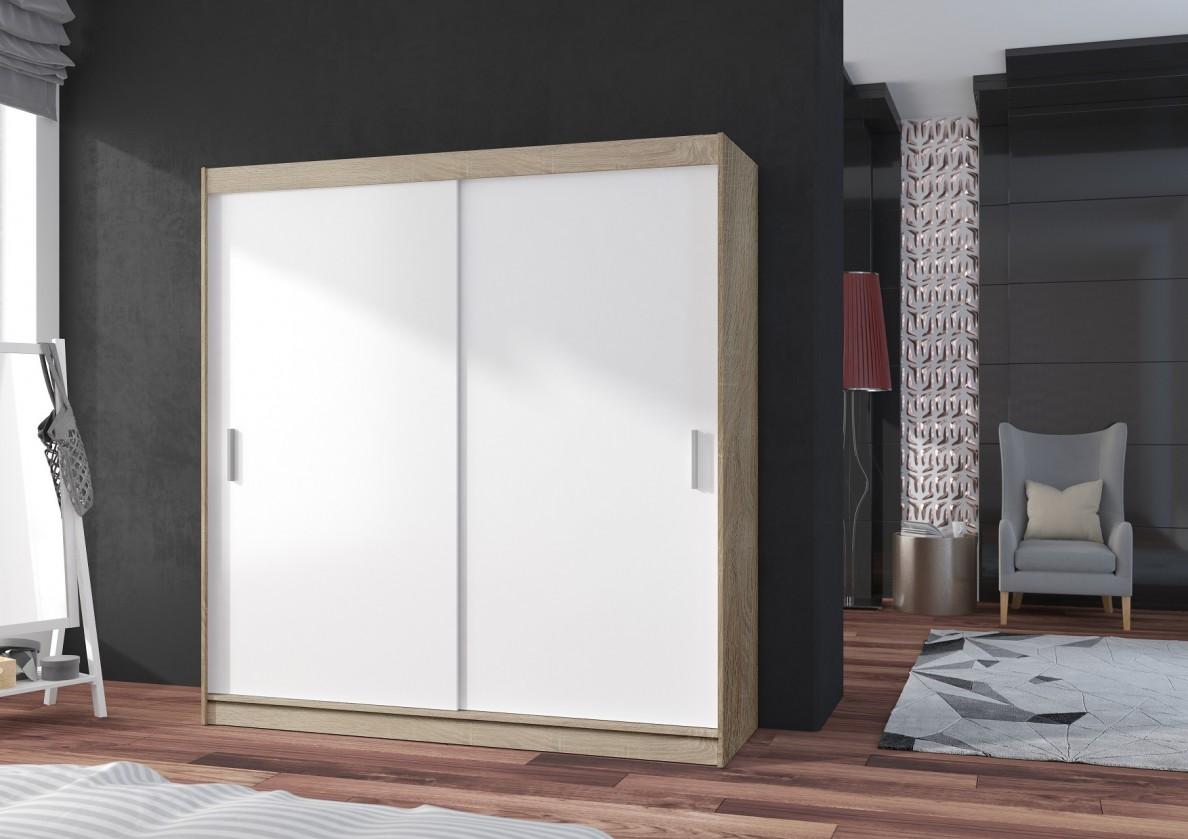 Posuvná skriňa POP 2 - Skriňa 180x215x60 cm, posuvné dvere (biela/dub sonoma)